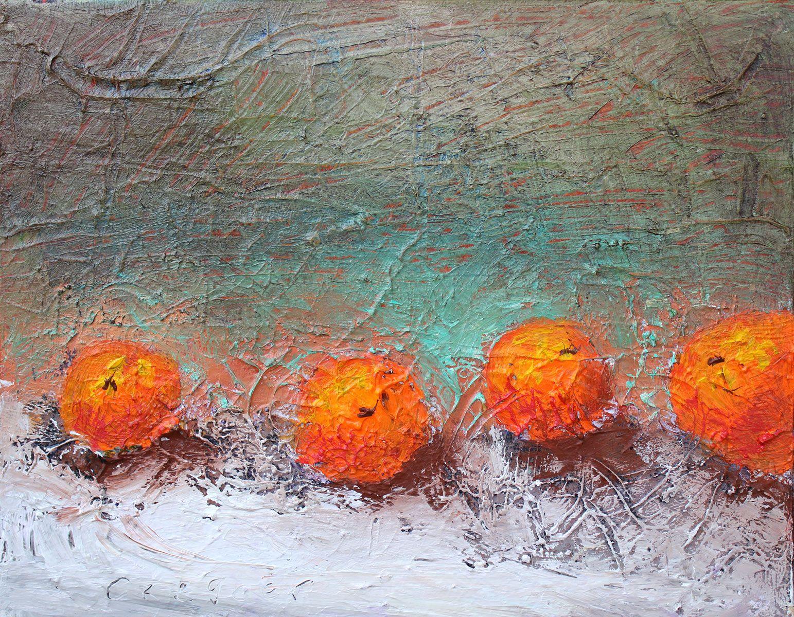 Four Oranges VI, acrylic on canvas, 14x18  www.duanecregger.com www.crossroadsartcenter.com