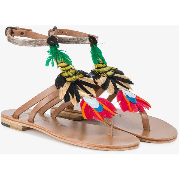 Bright Feather Embellished Ariana Sandals ÁLVARO GONZÁLEZ oTYcsd