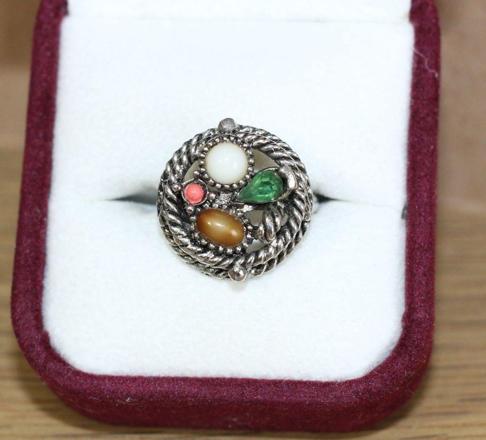 89aa783301ddf Women's Size 6 Ring Multi Gemstone Pearl Tiger Eye Gems en Vogue ...