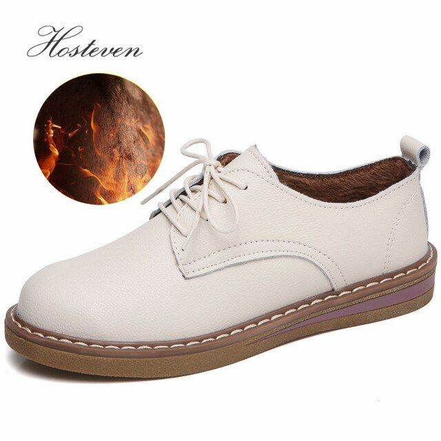 Hosteven Women Shoes Oxford Casual Flats Sneakers Moccasins Genuine Leather Plush Mother Warm Hosteven Women Shoes Oxford Casual Flats Sneakers Moccasins Genuine Leather...