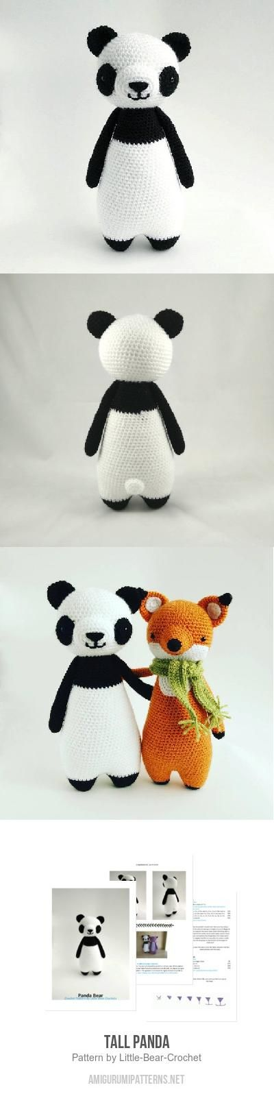 Tall Panda amigurumi pattern by Little Bear Crochet | Patrones ...