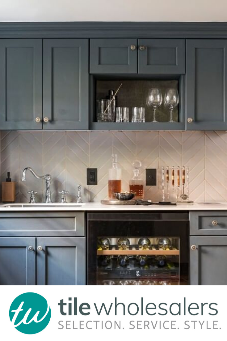 Blue Gray Cabinets With A White Tile Background The Perfect Combo In 2020 Kitchen Renovation Grey Cabinets Kitchen