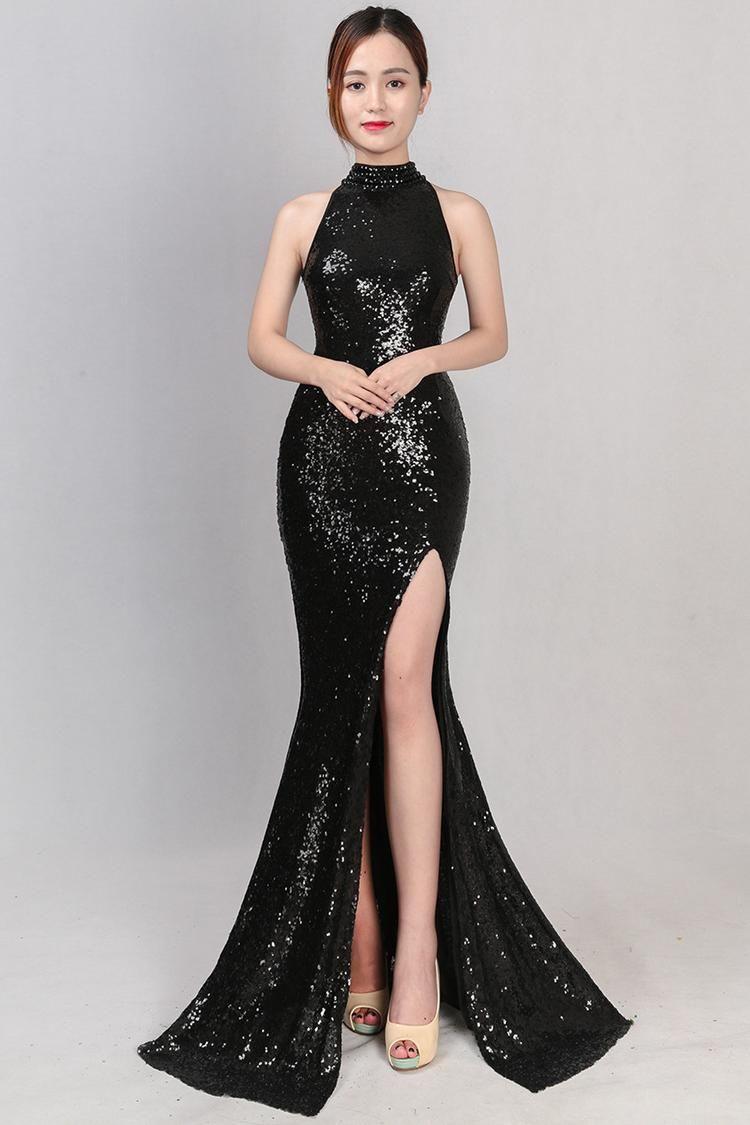 Hang Neck Black Sequin Maxi Dress With Side Splits Dinner Dress Classy Classy Dress Dresses