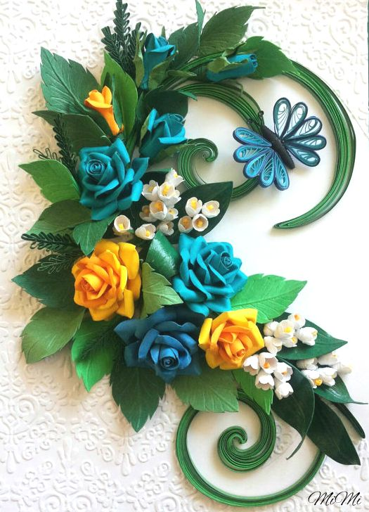 Quilling Roses Wall Art Romantic Lily Of The Valley DesignsQuilling IdeasQuilling FlowersPaper