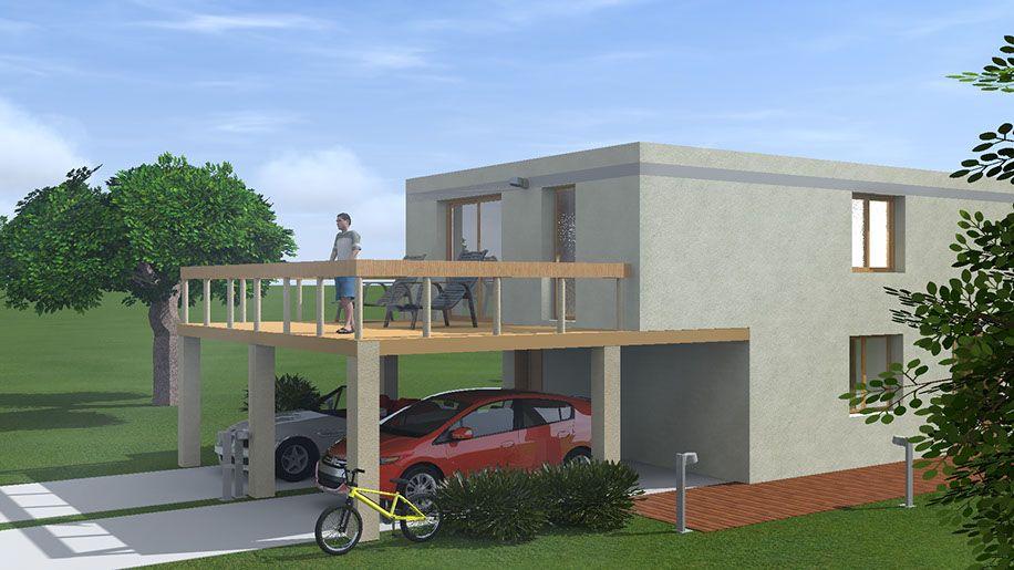 Premier essai ArchiCAD et Artlantis - Maison contemporaine à toit