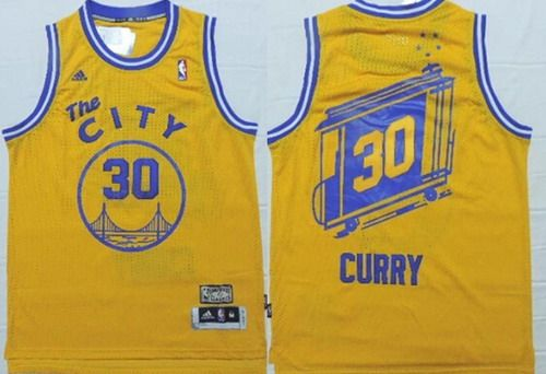 Golden State Warriors  30 Stephen Curry The City Yellow Swingman Throwback  Jersey e223fd435