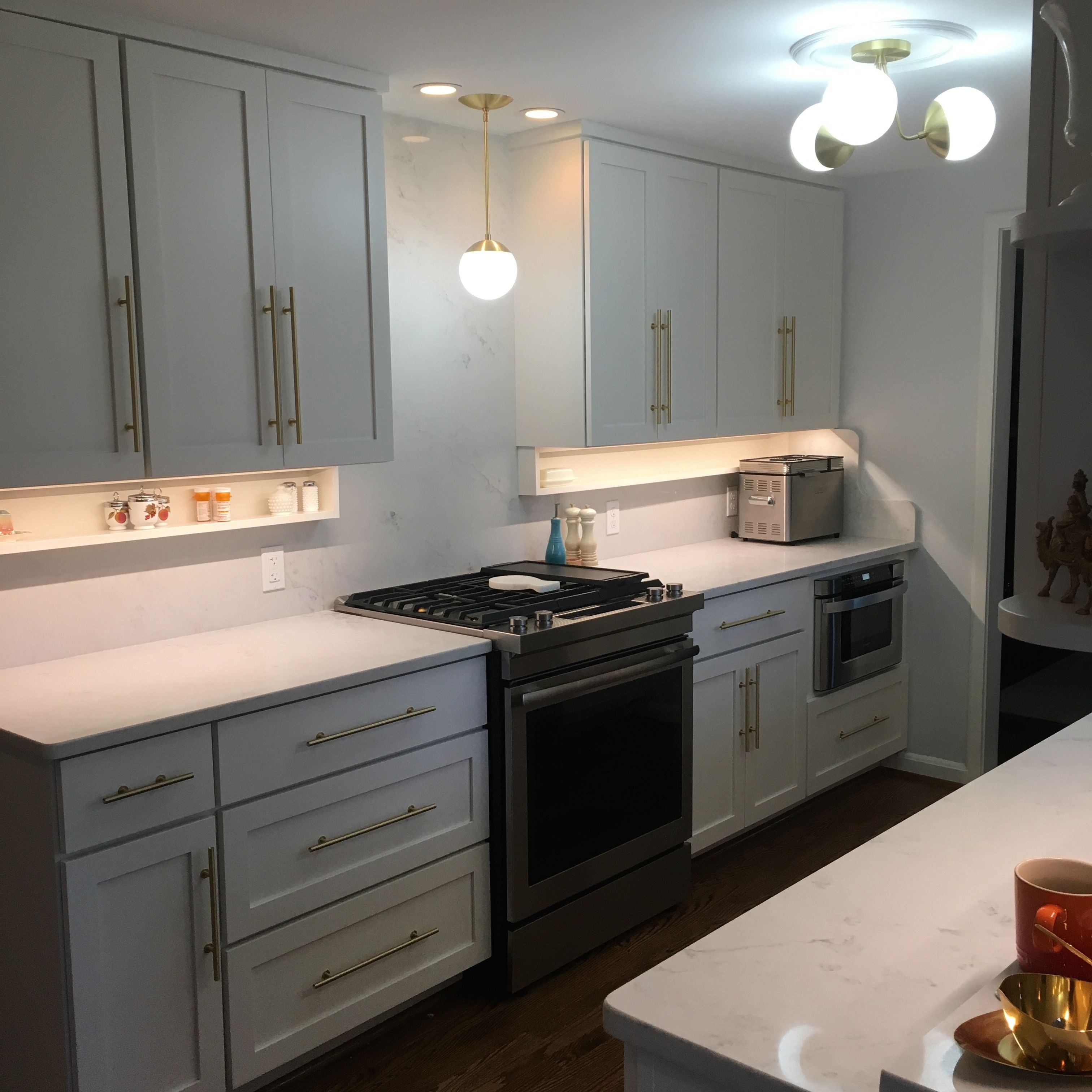Mouser usa kitchens and baths manufacturer - Mouser Cabinets In Divinity Galley Kitchen London Fog Quartz Cedar And Moss Alto