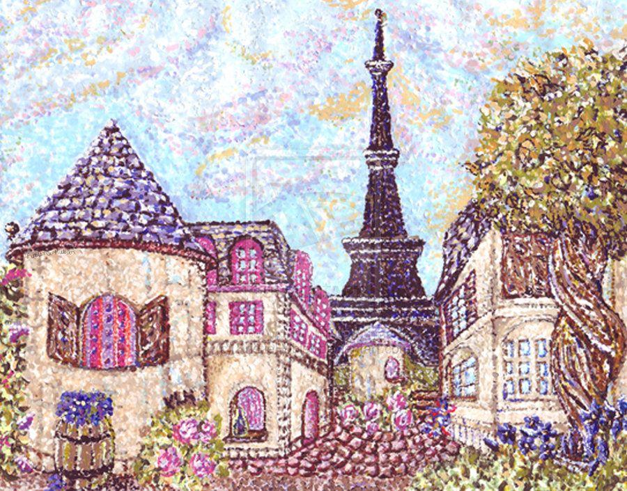 paris_inspired_pointillism_with_eiffel_tower_by_kristiehubler-d5bxsr1.jpg (900×706)