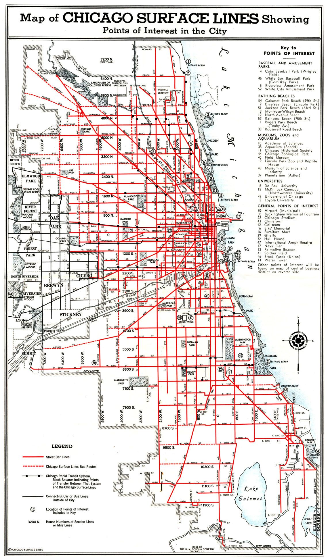 Chicago Surface Linesstreetcars And Trolley Buses Chicago - Chicago map miracle mile
