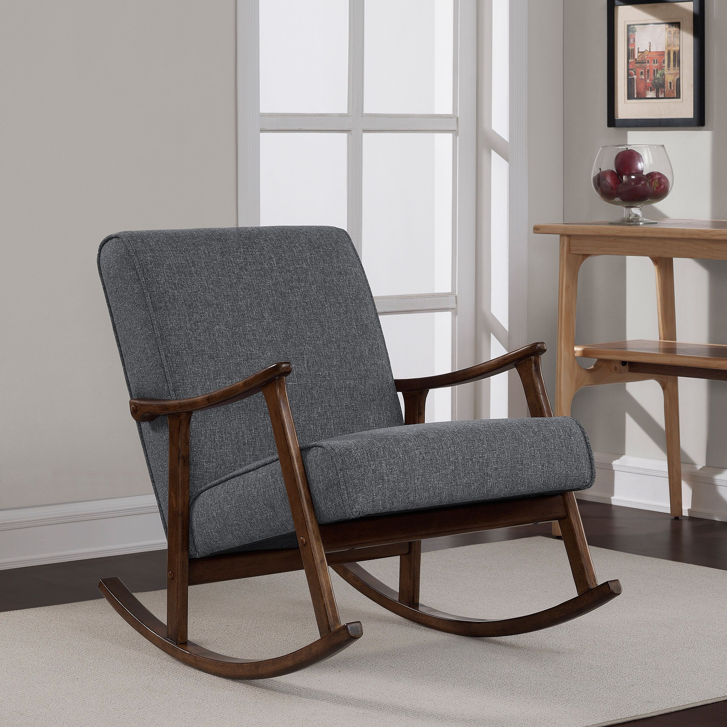 Give Any Room Some Retro Inspiration With This Fabric Upholstered Rocker Chair The Solid Wood Frame Offers Years Of Durable Use Finished In A Rich Walnut