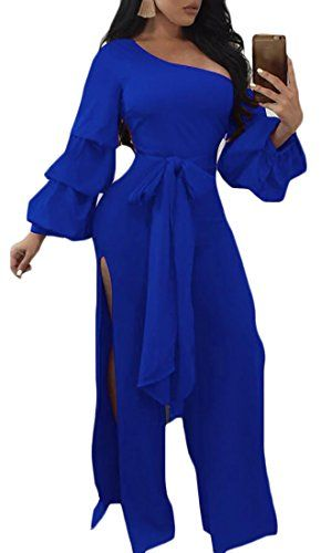 a822a19b022 Jaycargogo Women Sexy One Piece Jumpsuits Rompers Elegant High Split Pants