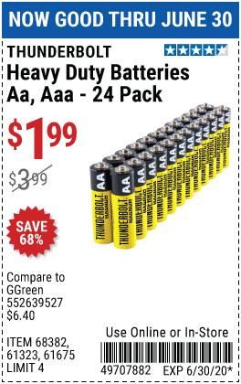 Thunderbolt Edge Alkaline Batteries For 4 99 Alkaline Battery Harbor Freight Tools Duracell