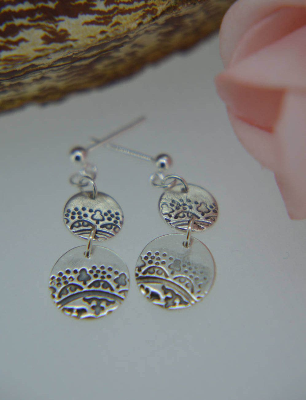 Silver Earrings Dangle Round Disc Circular Drop