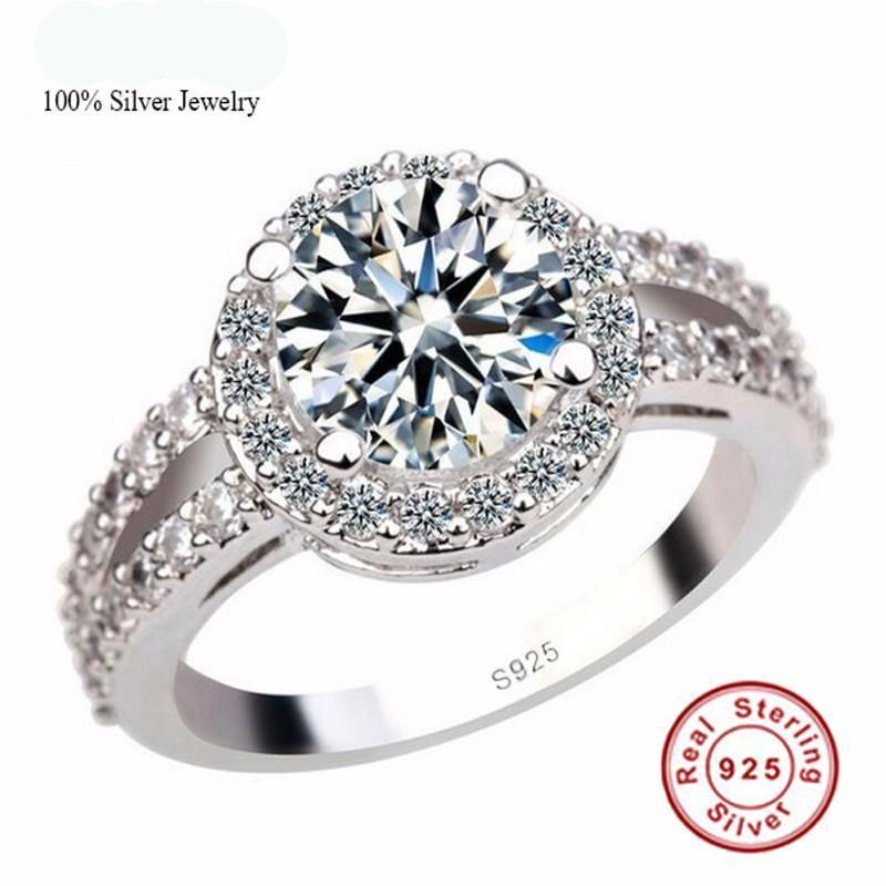 Pure Silver Engagement Ring S925 Stamp 2 Carat Cz Diamant Rings Size 4 11