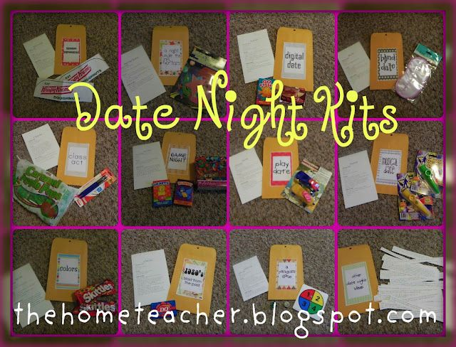 Cute date night kits - I like the chance date and the spaghetti dinner idea for the prehistoric date!