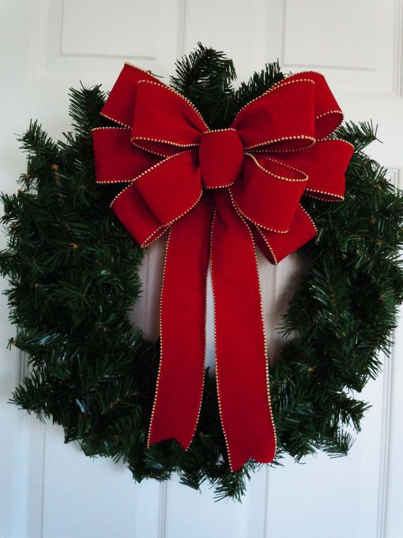 12 Red Velvet Christmas Bow Indoor Outdoor By Greentraderllc Velvet Christmas Bow Christmas Wreath Bows Christmas Wreath Storage