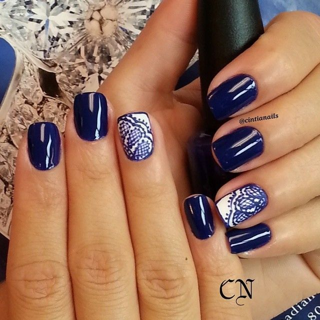 Blue/White Nail Art by cintianails using Motives Nail Lacquer(Singing the  Blues) - Motives Nail Lacquer White Nail Art, Blue Nails And White Nails