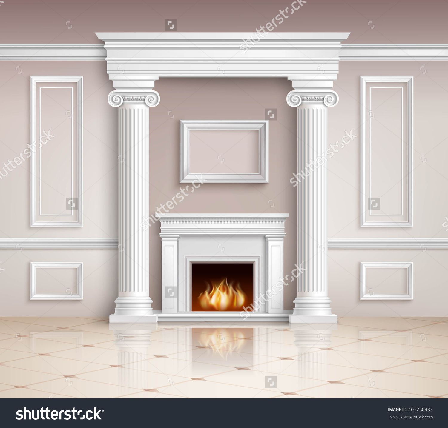 Realistic Classic Interior Room Design Background With Fireplace Vector Illustration