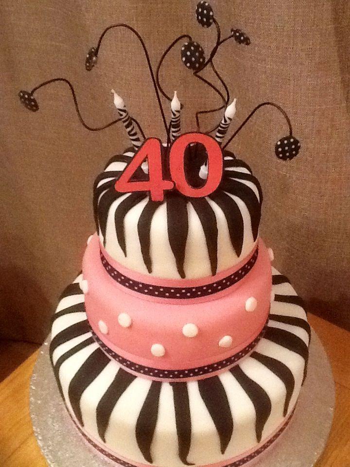 40th birthday cake 3 tier with zebra print fondant