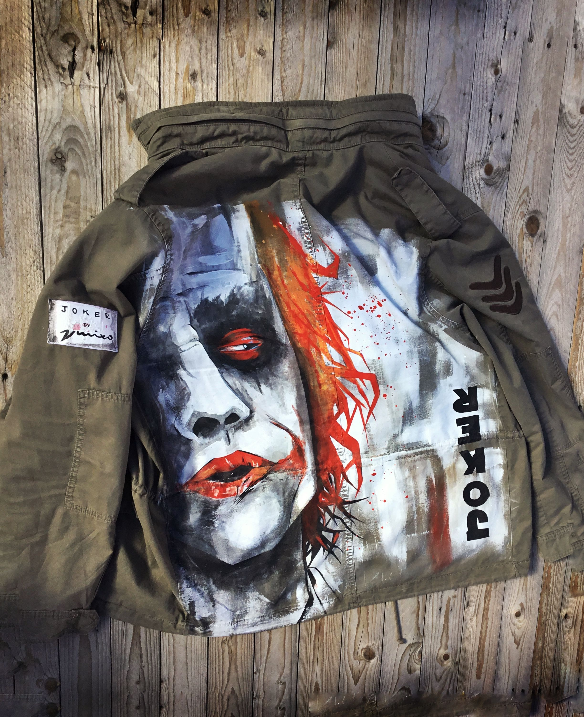 Why So Serious Joker S Hand Painted Army Jacket By Vmixo Hand Painted Army Jacket Joker Jacket Army Jacket [ 3009 x 2448 Pixel ]