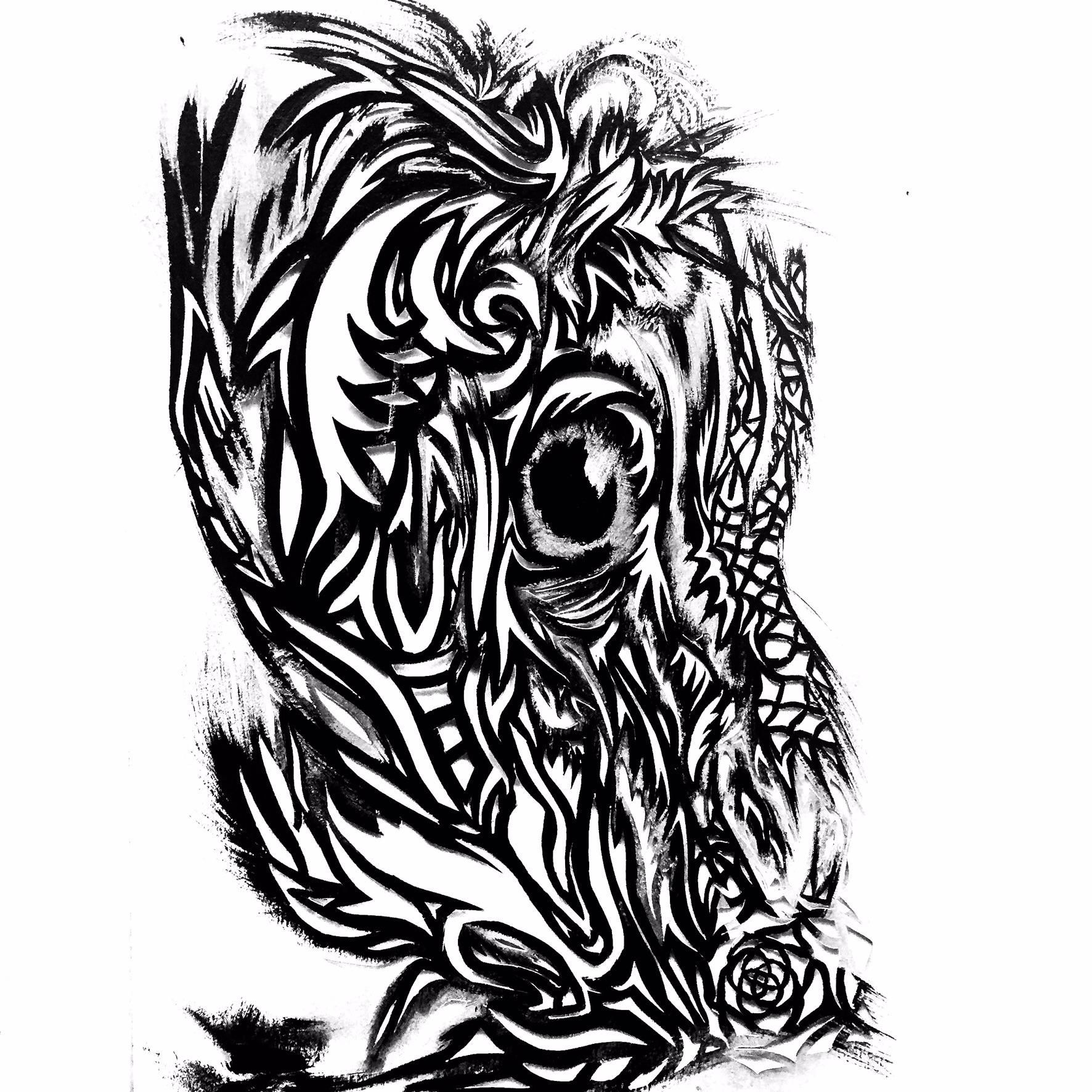 Rise From The Ashes India Ink & Candle Soot Cut