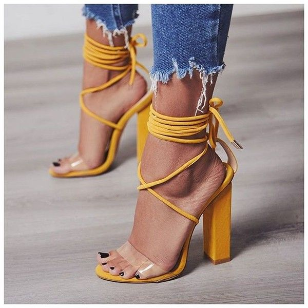 8361956058b4 Bello Perspex Lace Up Block Heel In Yellow Faux Suede ( 7.99) ❤ liked on  Polyvore featuring shoes