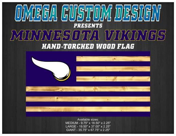 Large Minnesota Vikings Wood American Rustic Torched Flag