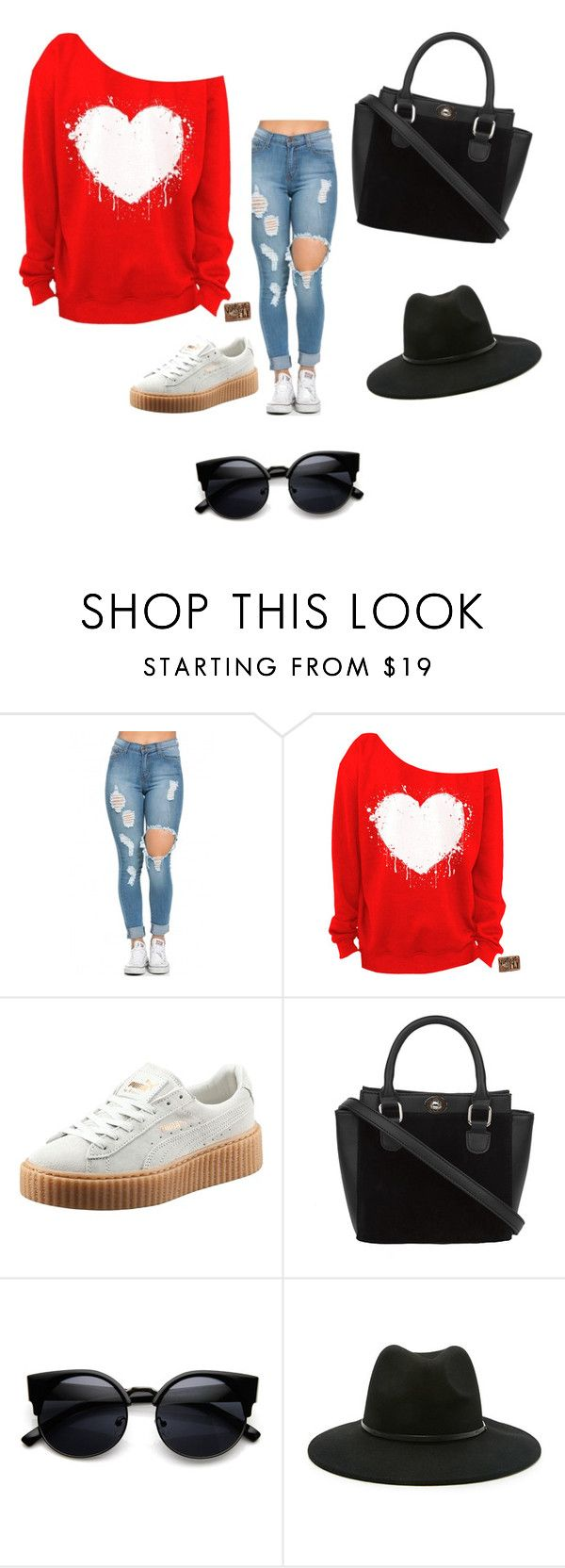 """""""Dark love"""" by kimberlykbyron ❤ liked on Polyvore featuring mode, Puma, Forever 21, women's clothing, women, female, woman, misses et juniors"""
