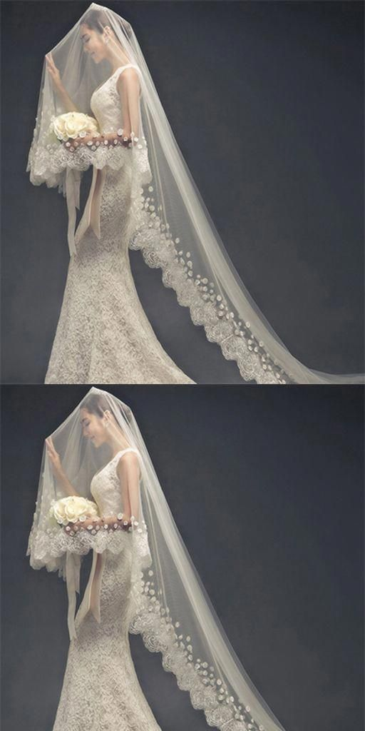 Stunning Long Lace Applique Wedding Veil For Wedding Party Wv0101
