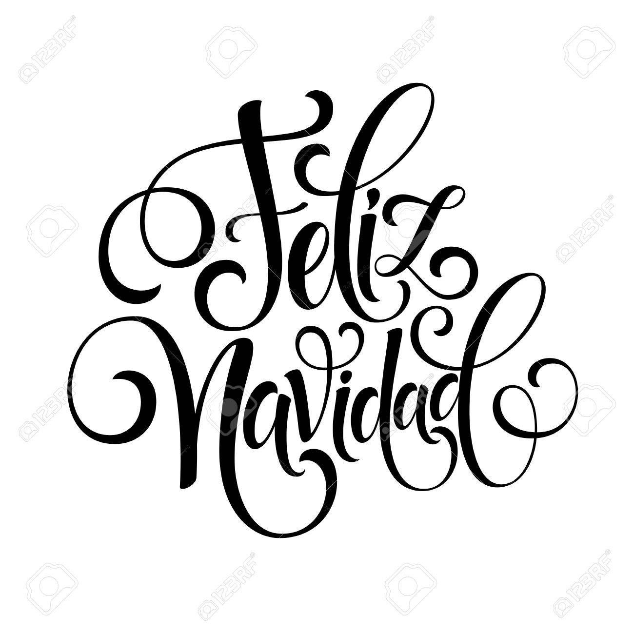 Feliz Navidad de texto decoración de la mano de letras para la plantilla de diseño de la tarjeta de felicitación. etiqueta Feliz Navidad en la tipografía española. inscripción caligráfica para vacaciones de invierno ilustración vectorial EPS10