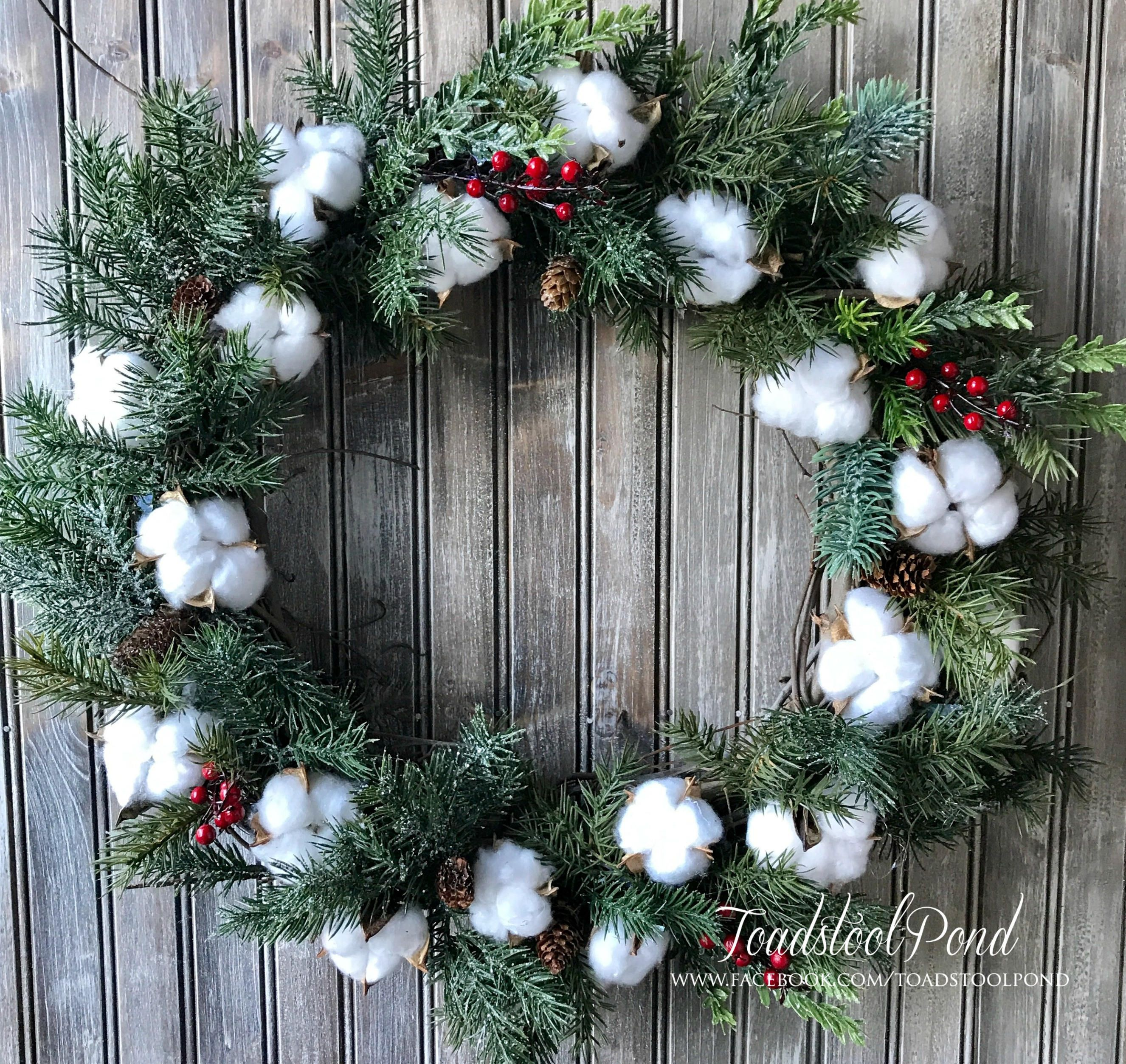 Cotton Boll Wreath Farmhouse Wreath Magnolia Inspired Cotton