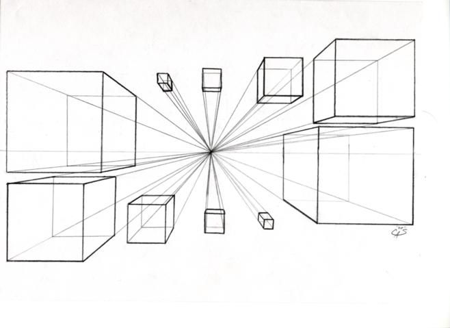 Boxes in One Point Perspective by BrigetteMora on