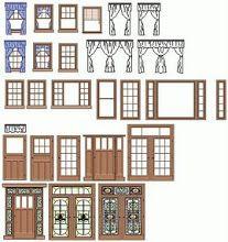 1:12 Double Porte Moustiquaire en Bois Décoration pour Dollhouse