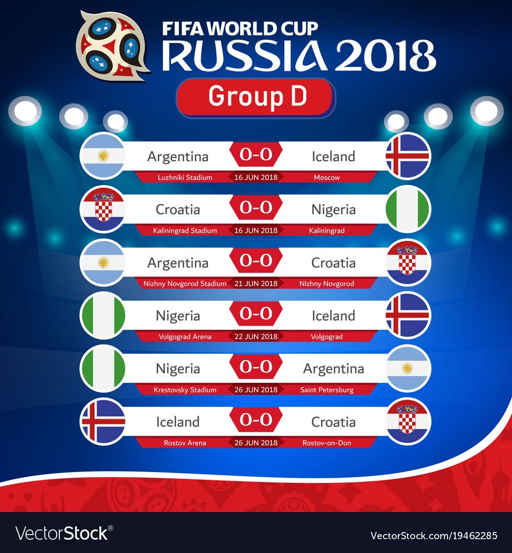 Fifa World Cup Russia 2018 Group D Fixture Vector Image On Vectorstock World Cup Russia 2018 Fifa World Cup Fifa