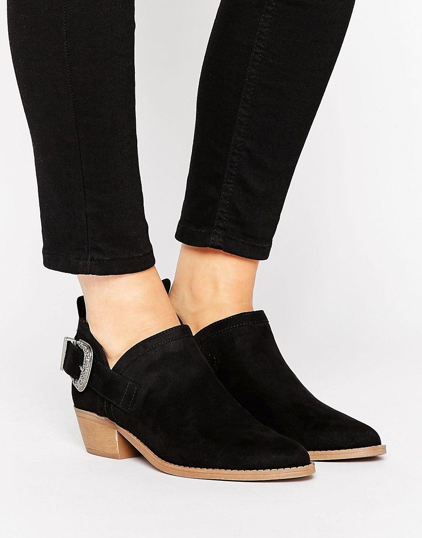 Get this New Look's cowboy boots now! Click for more details. Worldwide  shipping. New Look Western Suedette Low Ankle Boot - Black: Boots by New  Look, ...