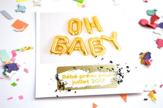 Carte à gratter annonce grossesse OH BABY par annoncegrossesse