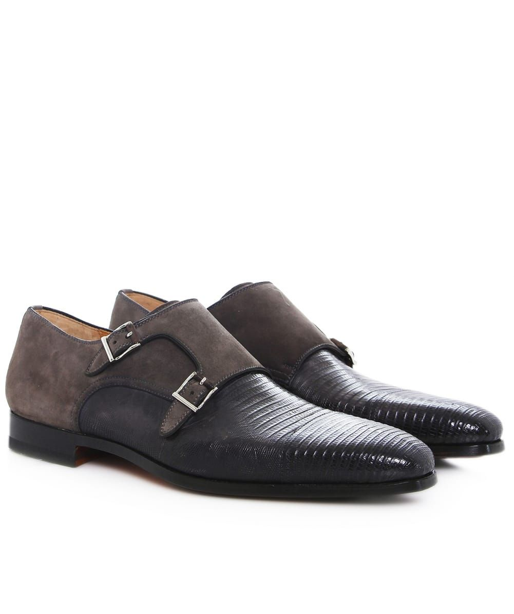 Magnanni Suede & Lizard Monk Strap Shoes | Monk strap shoes