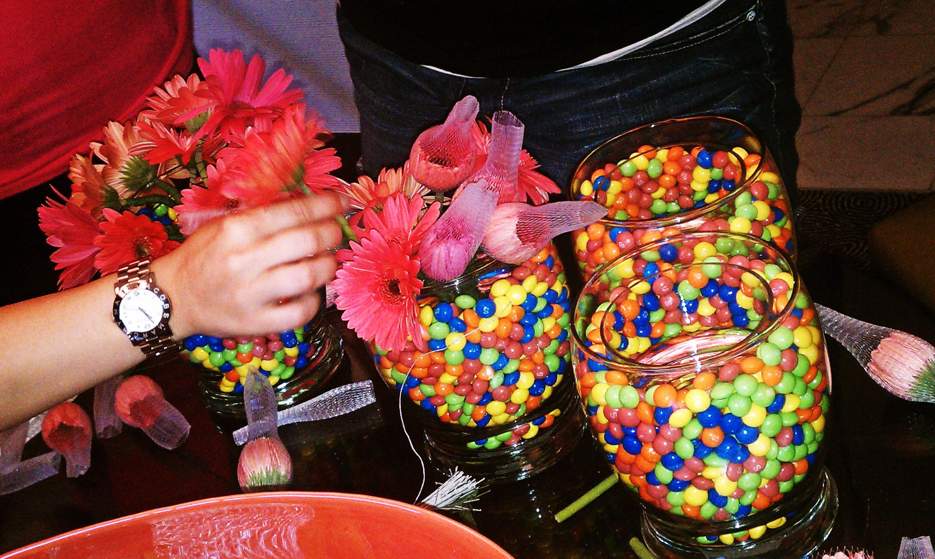 Making candy flower vase centerpieces luau pinterest