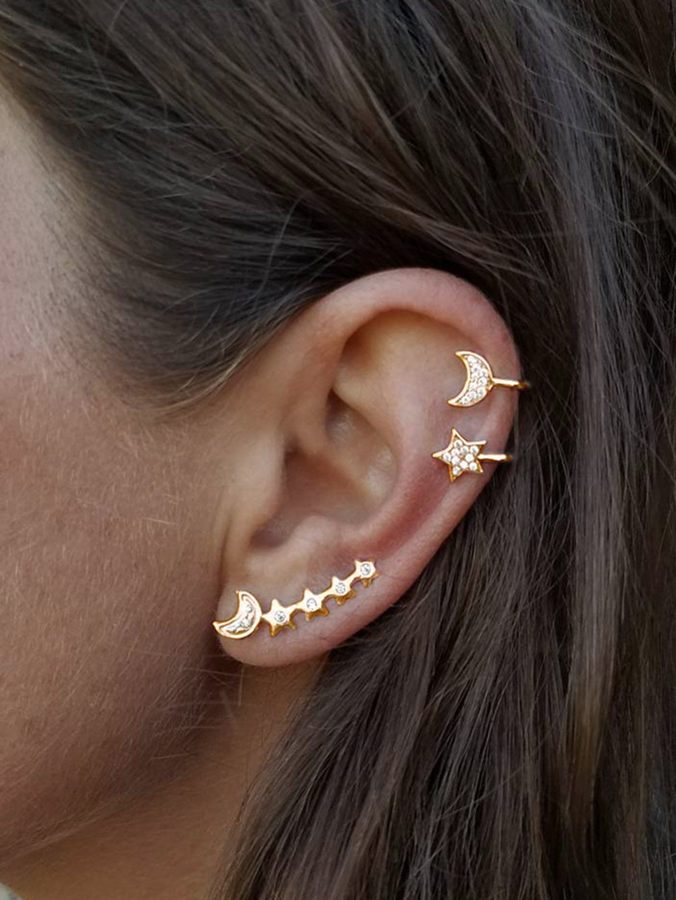 Genuine 9ct Gold Upper Ear Helix Cartilage Cubic Zirconia Lightning Bolt Earring