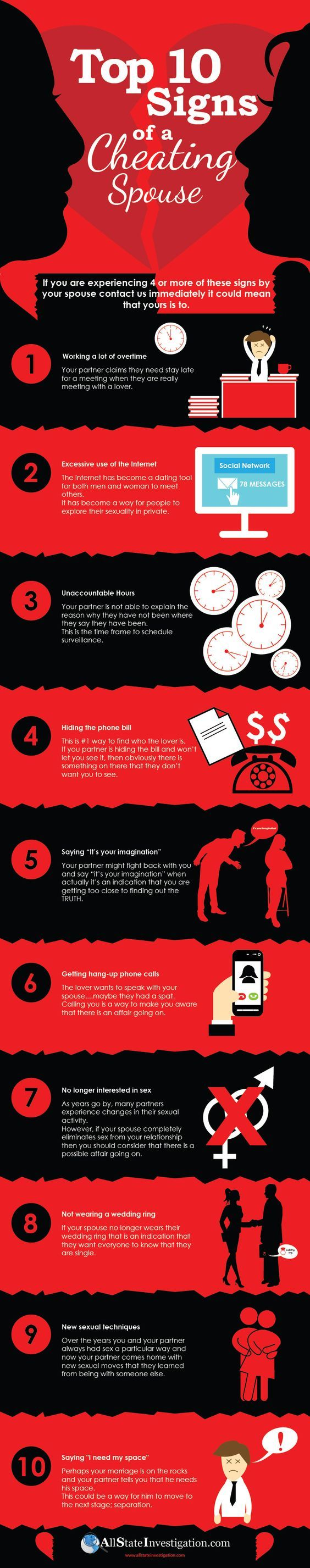 Psychology : Top 10 Signs of A Cheating Spouse #infographic #Cheating #Relationship: