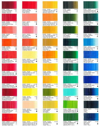 Holbein duo aqua printed colour chart http jacksonsart also blockx oils rh pinterest
