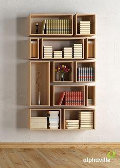 Librero tipo nichos con madera simetrico y asimetrico