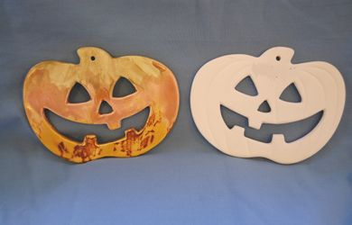 Bisque/Unpainted Ceramic Shapes, Pumpkin Plaque | Halloween Craft