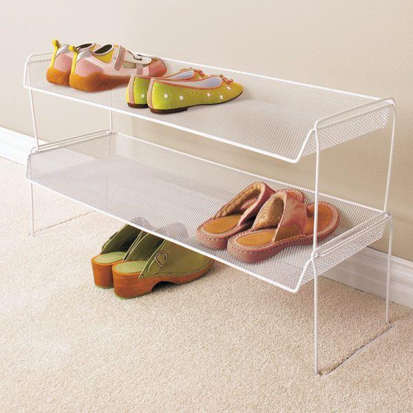 White Mesh Stackable Shoe Shelf Shoe Organization Closet Closet