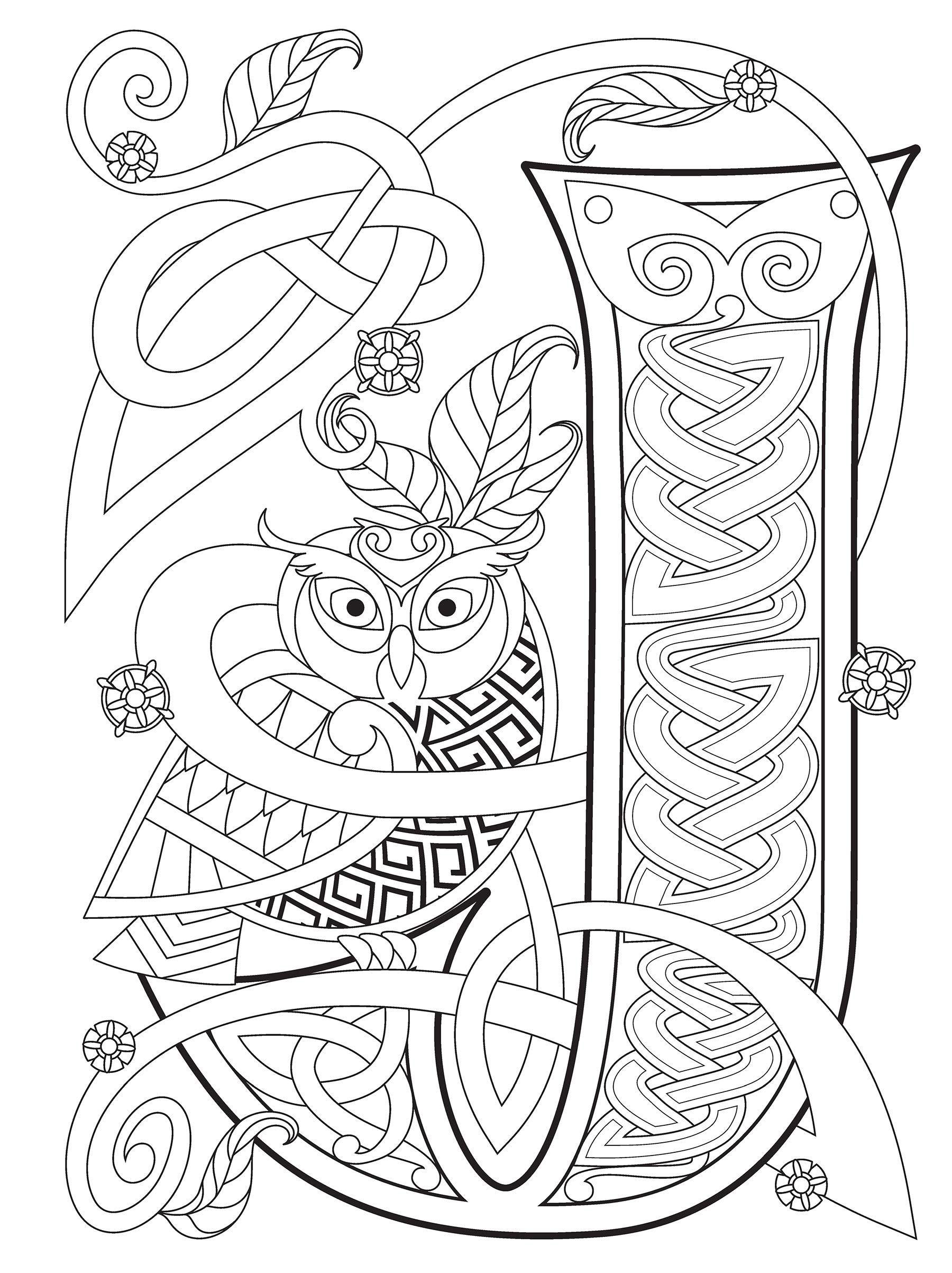 Dover Celtic Alphabet Celtic alphabet, Celtic coloring
