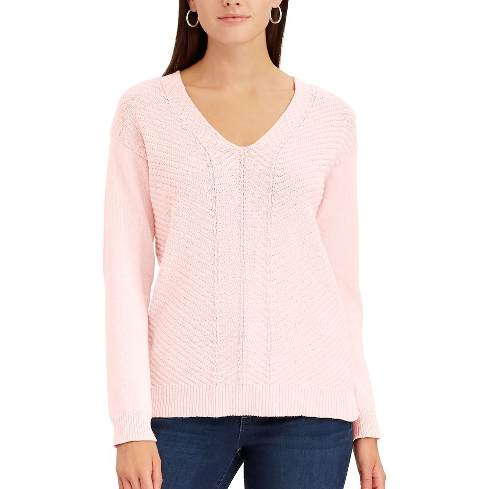 Women's Chaps Chevron V-Neck Sweater, Size: Medium, Pink