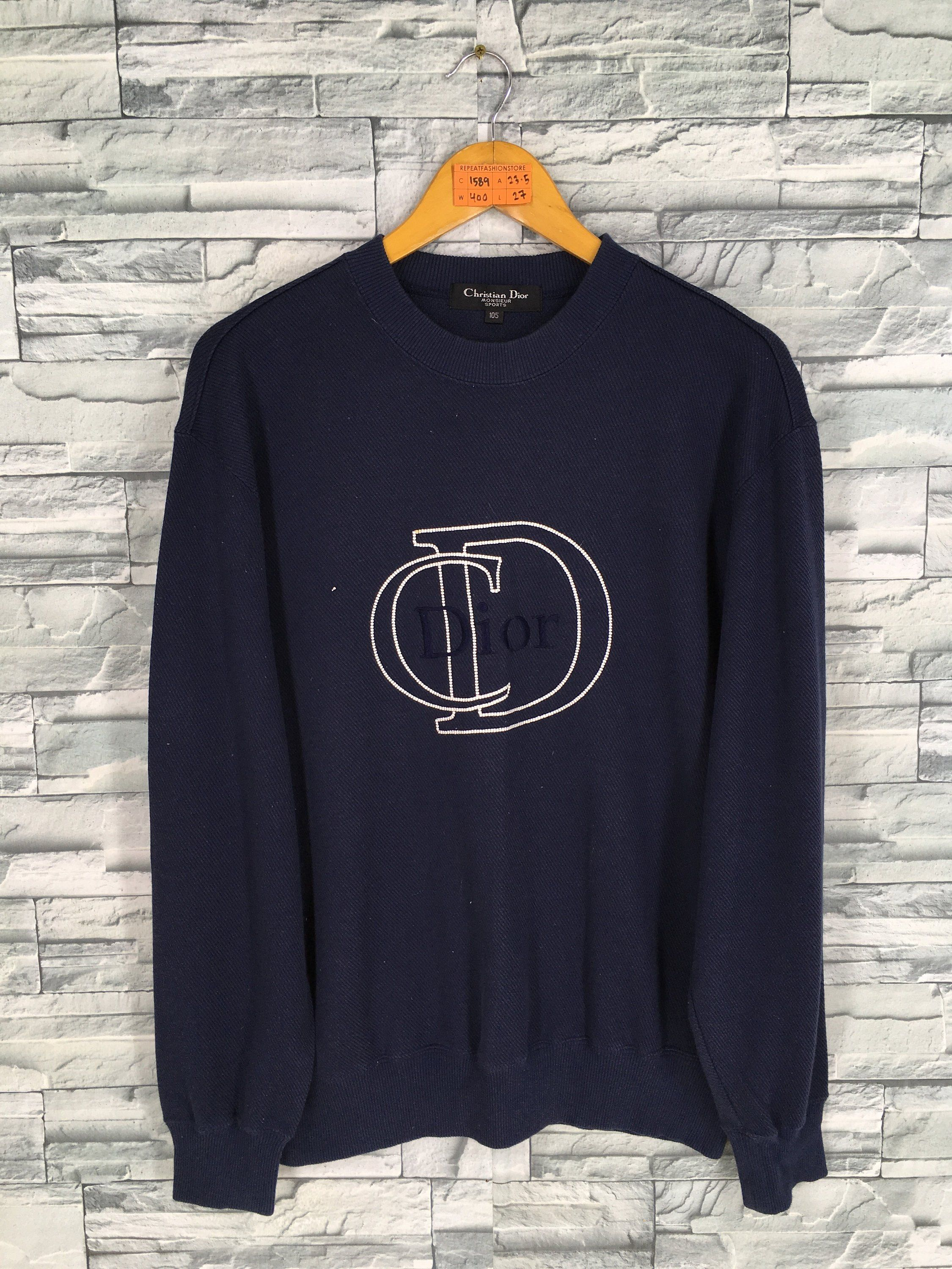2b53d8ba Vintage 90's CHRISTIAN DIOR Pullover Jumper Medium Monsieur CD Dior  Designer Paris Sweater Blue Dior Big Logo Crewneck Sweatshirt Size M by ...