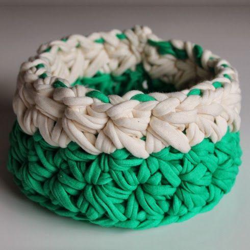 Patrones trapillo cesta de trapillo con punto galaxia - Puntos crochet trapillo ...