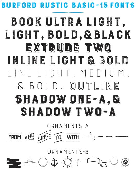 Download Burford Rustic Basic Family Pack - 15 fonts Fonts ...
