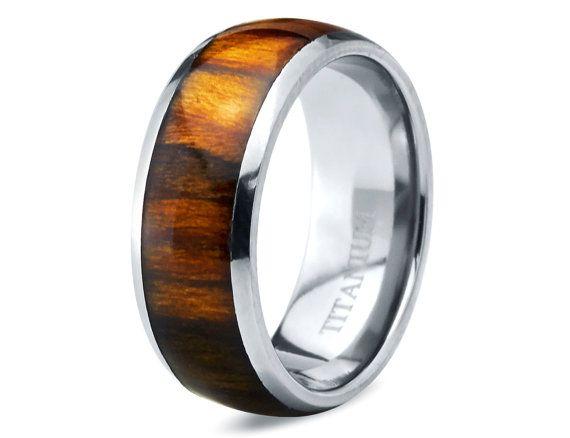 Titanium Wedding BandMens BandKoa Wood RingCustom
